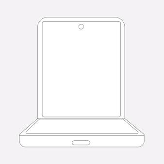 Teléfono plegable, pantalla en blanco, ilustración de vector de teléfono plegable