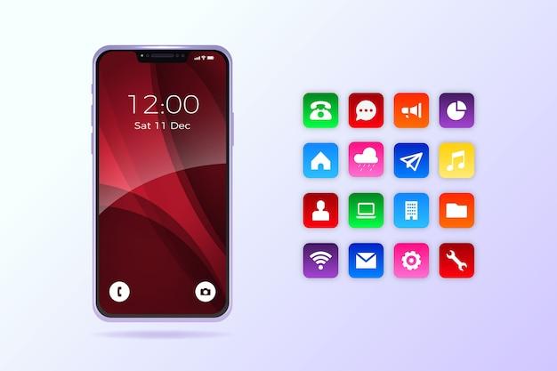 Teléfono realista con aplicaciones