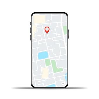 Teléfono realista con mapa gps sobre un fondo blanco.