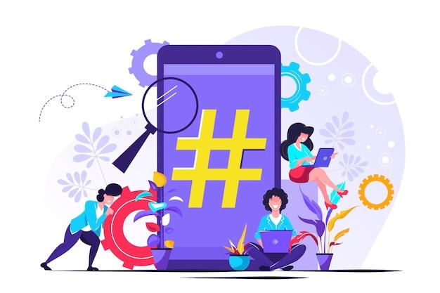 Teléfono con signo de hashtag, personas y redes sociales.