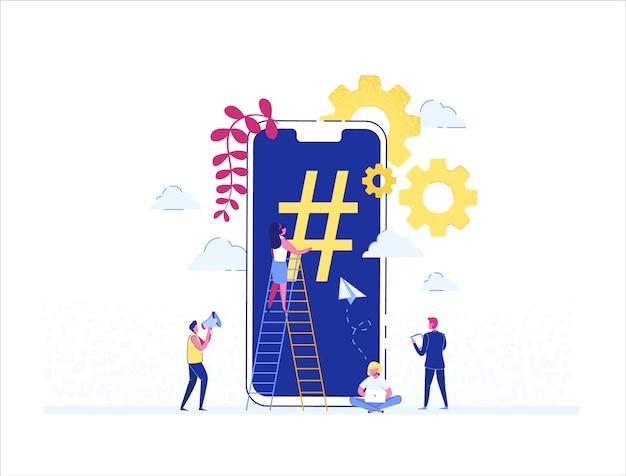 Teléfono con signo de hashtag