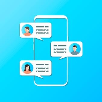 Un teléfono con tres respuestas sms entre personas en la pantalla.
