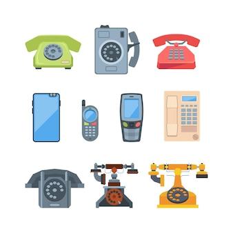 Teléfonos de estilo antiguo y aparatos modernos ilustración