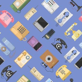Teléfonos iconos sealess patrón aislado