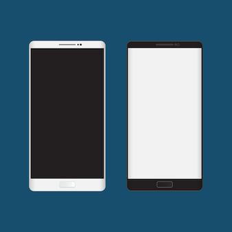 Teléfonos inteligentes en blanco y negro. aislado en fondo azul