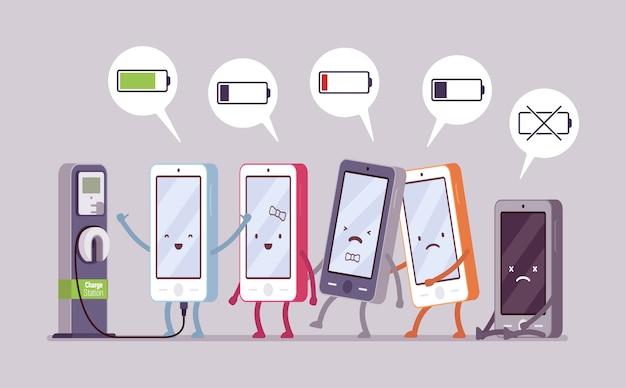 Los teléfonos inteligentes se están cargando cerca de la estación