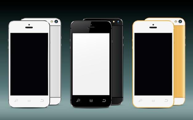 Teléfonos móviles delante y detrás con pantalla en blanco