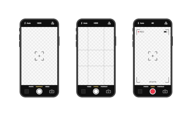 Teléfonos móviles con interfaz de cámara. aplicación de aplicación móvil. pantalla de foto y video.