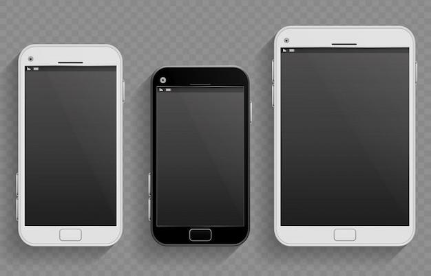 Los teléfonos móviles con pantalla táctil, teléfonos inteligentes de diferentes tamaños y tabletas vectoriales plantillas realistas