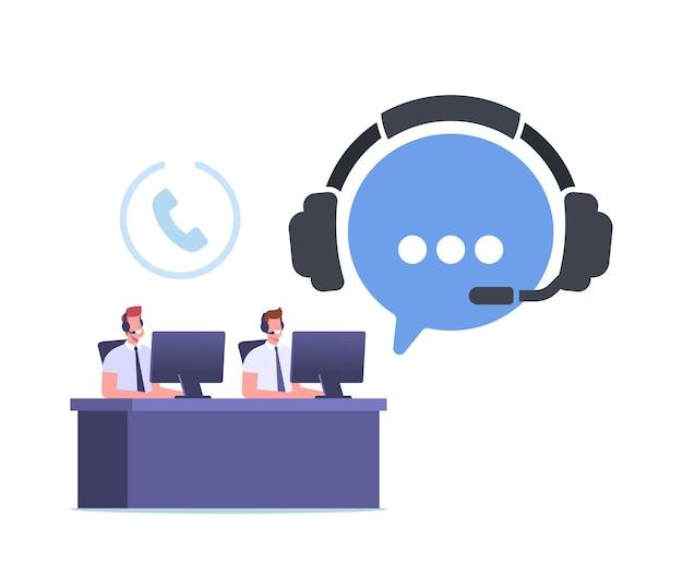 Telemarketing call operator caracteres hotline comunicación, consulta. el especialista en soporte técnico se sienta en la computadora en el centro de llamadas respondiendo preguntas en línea. ilustración de vector de gente de dibujos animados
