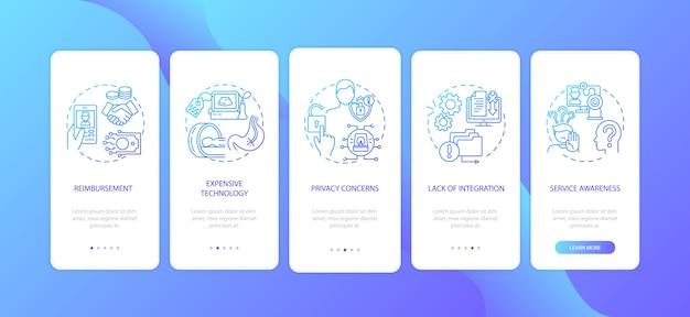 La telemedicina desafía la incorporación de la pantalla de la página de la aplicación móvil con conceptos