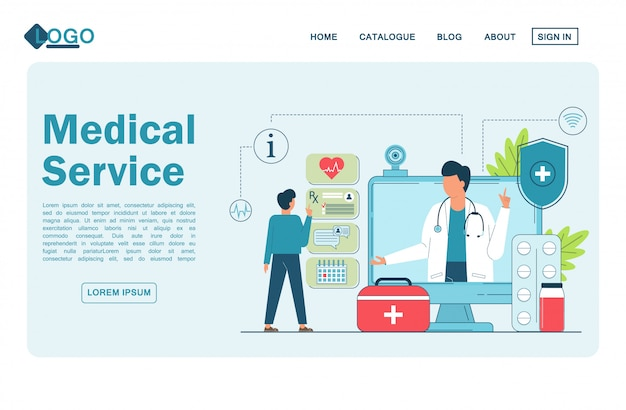 Telemedicina, doctor en línea, servicio médico en línea para pacientes. página de destino