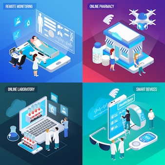 Telemedicina servicio de salud remoto 4 composiciones isométricas coloridas cuadradas con dispositivos inteligentes móviles de laboratorio en línea