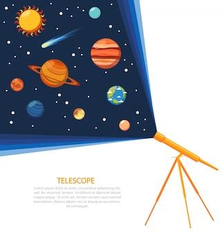 Telescopio concepto de sistema solar poster.