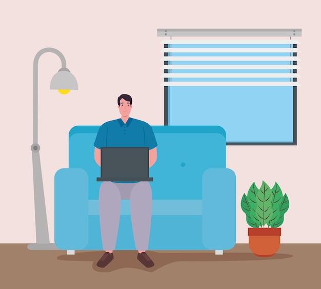 Teletrabajo, hombre con laptop en la sala, trabajando desde casa.