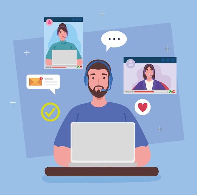 Teletrabajo, hombre trabajando desde casa en videoconferencia con trabajo en equipo.
