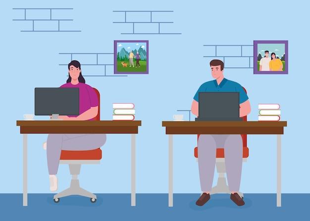 Teletrabajo, pareja joven trabajando desde casa, concepto de oficina en casa.
