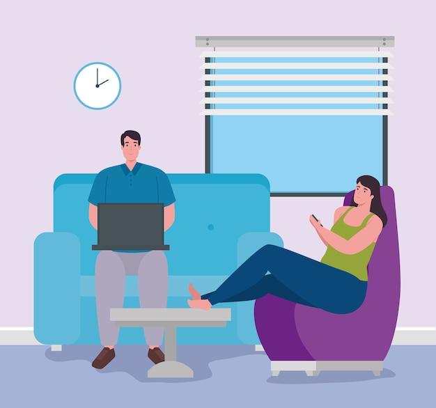 Teletrabajo, pareja joven trabajando desde casa.