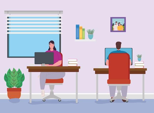 Teletrabajo, pareja trabajando desde casa, concepto de oficina en casa.