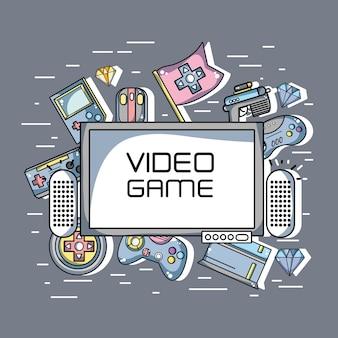 Televisión con fondo de elementos de tecnología de videojuegos