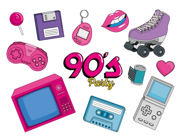 Televisión con iconos estilo de arte de los noventa