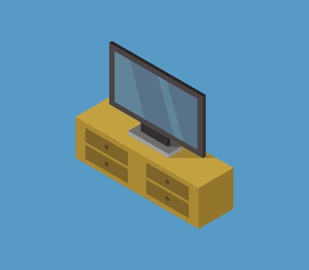 Televisión isométrica y mesa