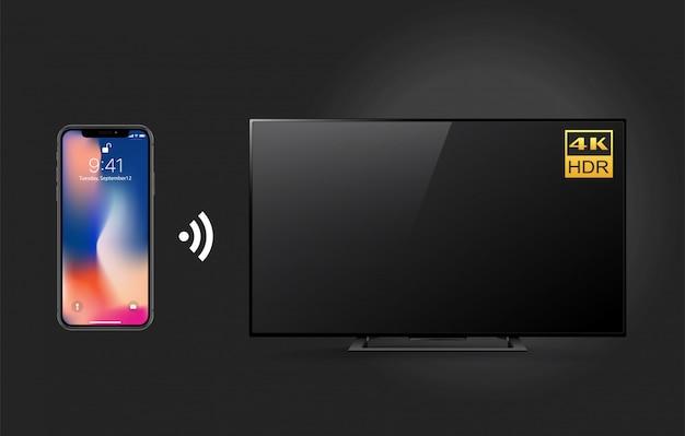 Televisor 4k remoto con teléfono inteligente y tecnología wifi.