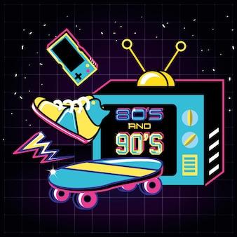 Televisor con íconos de los ochenta y noventa retro