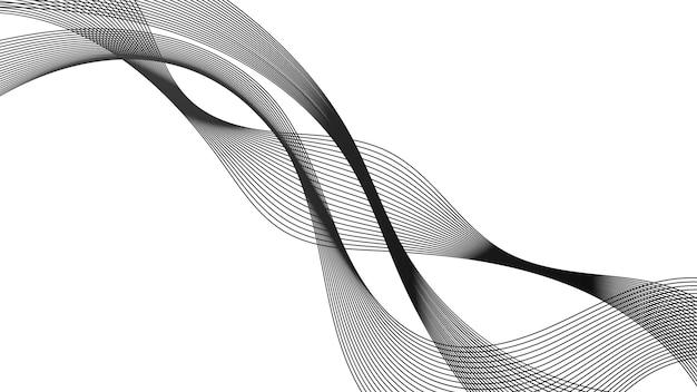 Telón de fondo abstracto con líneas de degradado de onda monocromática sobre fondo blanco. fondo de tecnología moderna, diseño de onda. ilustración vectorial