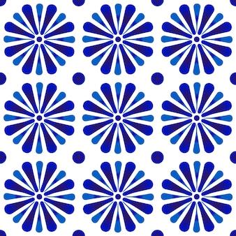 Telón de fondo con adornos florales añil, decoración de azulejos de cerámica azul y blanca, linda porcelana sin costuras, hermoso patrón de diseño, techo, textura, pared, papel y tela
