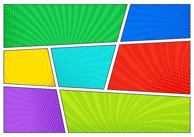 Telón de fondo de cómic horizontal. plantilla brillante con células, efectos de semitonos y rayos. fondo colorido en estilo pop-art.