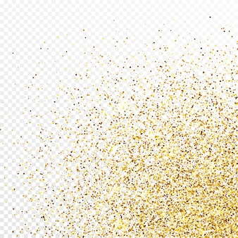 Telón de fondo de confeti de oro brillo aislado sobre fondo blanco transparente. textura de celebración con efecto de luz brillante. ilustración vectorial.
