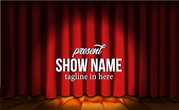 Telón de fondo de cortina roja de lujo de seda roja en el escenario con piso de madera y foco