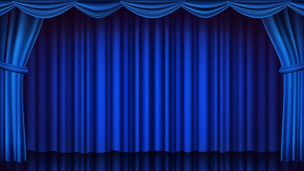 Telón de fondo de la cortina de teatro azul. fondo de escena cerrada de teatro, ópera o cine. ilustración realista de cortinas azules
