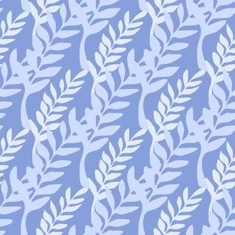 Telón de fondo de rama de hoja abstracta. patrón sin fisuras de ramas azules. ilustración de vector sobre fondo azul para cubiertas textiles o de libros, fondos de pantalla, diseño, arte gráfico, envoltura