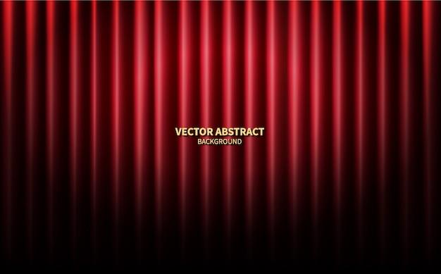 Telón de fondo rojo escenario escenario de cortinas. fondo abstracto del vector concierto de rendimiento.