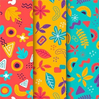 Tema abstracto de colección de patrones dibujados a mano