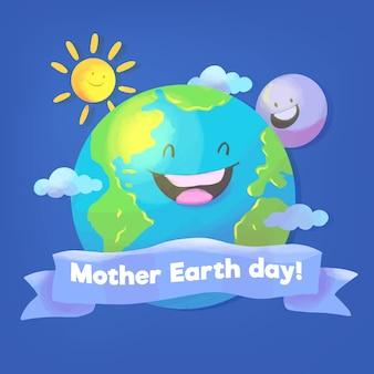 Tema de acuarela del día de la madre tierra