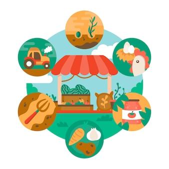 Tema de agricultura orgánica para ilustración