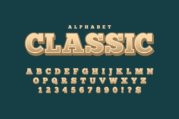 Tema con alfabeto retro 3d