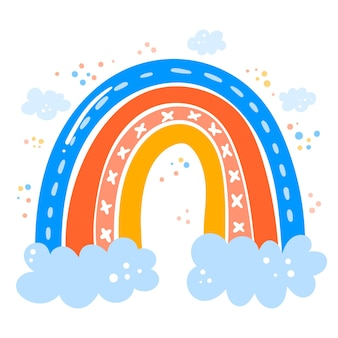 Tema del arco iris de dibujo a mano