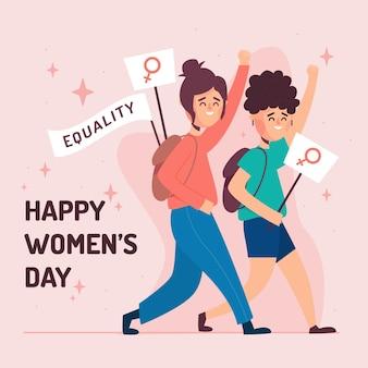Tema artístico de diseño plano para el día de la mujer.