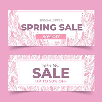 Tema de banners de venta de diseño plano de primavera