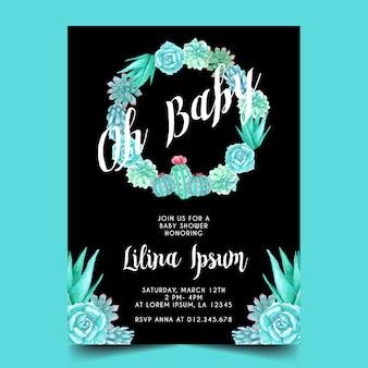 Tema del cactus de la acuarela para la invitación de la fiesta de bienvenida al bebé