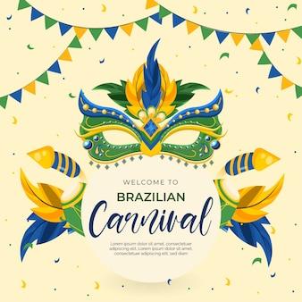 Tema de carnaval brasileño de diseño plano con máscaras