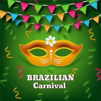 Tema de carnaval brasileño realista con máscara