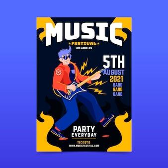 Tema del cartel del festival ilustrado de música 2021