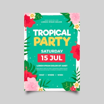 Tema de cartel de fiesta tropical