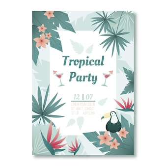 Tema de cartel de fiesta tropical