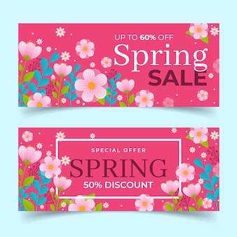 Tema de colección de banner de diseño plano primavera venta